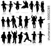 silhouette girls and boys ... | Shutterstock .eps vector #50002285