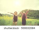 two hipster woman traveling and ... | Shutterstock . vector #500032084