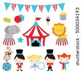 cute circus clip art for party  ...   Shutterstock .eps vector #500034193