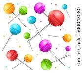 lollipop with stick sugar candy ... | Shutterstock .eps vector #500048080