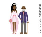 isolated bride with father on... | Shutterstock . vector #500050534