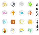 religion symbols icons set in... | Shutterstock . vector #500057170