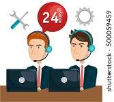 customer service agent working... | Shutterstock .eps vector #500059459