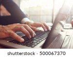 businessman working at laptop.... | Shutterstock . vector #500067370