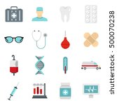 medicine icons set in flat... | Shutterstock . vector #500070238