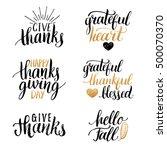 vector thanksgiving lettering... | Shutterstock .eps vector #500070370