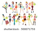 shopping women set. elegant ... | Shutterstock .eps vector #500071753