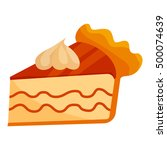 piece of cake with cream icon... | Shutterstock . vector #500074639