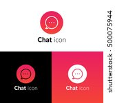 chat icon  logo with red trend...