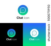 chat icon  logo with blue green ...