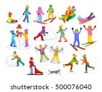 children enjoying winter fun... | Shutterstock .eps vector #500076040