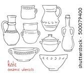 rustic ceramic utensils  line... | Shutterstock .eps vector #500079400