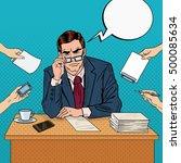 pop art serious businessman... | Shutterstock .eps vector #500085634