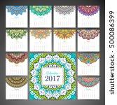 calendar 2017. vintage... | Shutterstock .eps vector #500086399