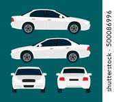 Stock vector vector white city car four views top side back front car icon isolated on background flat 500086996