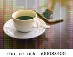 a cup of black coffee in the... | Shutterstock . vector #500088400