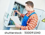 electrician hand with test... | Shutterstock . vector #500091040