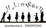 children in halloween fancy... | Shutterstock .eps vector #500092540