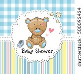 baby shower greeting card with... | Shutterstock .eps vector #500093434