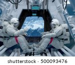 group astronauts inside the... | Shutterstock . vector #500093476