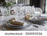glasses and table set in... | Shutterstock . vector #500093536
