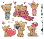 set of cute cartoon teddy bear... | Shutterstock .eps vector #500093860