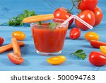 glass of fresh tomato juice and ... | Shutterstock . vector #500094763