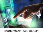 businessman hand touching with...   Shutterstock . vector #500100034