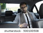 smart businessman in car ... | Shutterstock . vector #500100508