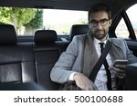 businessman travelling in car | Shutterstock . vector #500100688