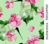 pink hydrangea watercolor... | Shutterstock . vector #500104960