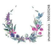watercolor floral wreath ... | Shutterstock . vector #500105248