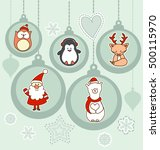 set of christmas characters... | Shutterstock .eps vector #500115970