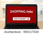shopping online device on... | Shutterstock . vector #500117320