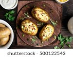 baked stuffed potatoes with... | Shutterstock . vector #500122543