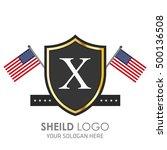 usa flag made sheild logo.... | Shutterstock .eps vector #500136508