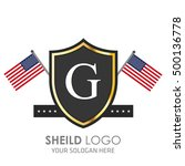 usa flag made sheild logo.... | Shutterstock .eps vector #500136778