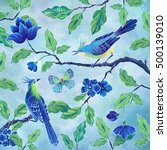decorative birds hand painted... | Shutterstock . vector #500139010