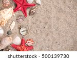 sea shells with two red... | Shutterstock . vector #500139730