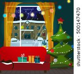 christmas room interior.... | Shutterstock .eps vector #500147470