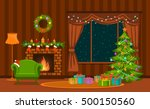 christmas living room with xmas ... | Shutterstock .eps vector #500150560