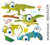 cute vector cartoon reptile... | Shutterstock .eps vector #500152279