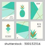 a set of six abstract geometric ... | Shutterstock .eps vector #500152516