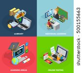 e learning concept isometric... | Shutterstock .eps vector #500155663
