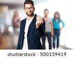 young man inviting to come there | Shutterstock . vector #500159419