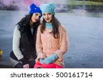 women in the park in knitted... | Shutterstock . vector #500161714