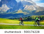 tourists cycling in seiser alm  ... | Shutterstock . vector #500176228