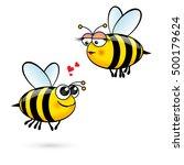Cute Cartoon Bees In Love....