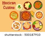 mexican cuisine chicken burrito ... | Shutterstock .eps vector #500187910