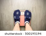 girl standing on floor vysah... | Shutterstock . vector #500195194
